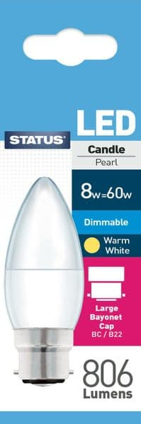 Dimmable LED Candle Bulbs B22 8W (60W) Watt 2700k Warm White Frosted Bulbs x 3